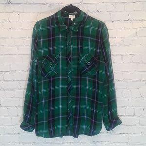 Maison Jules long-sleeve plaid rayon shirt